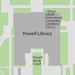 Map showing location of Powell Library
