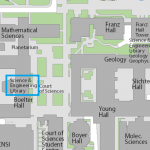 Map image showing location of Science and Engineering Library