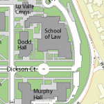 Map image showing location of Hugh and Hazel Darling Law Library