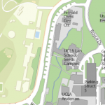 Map image showing location of Gonda Family Library
