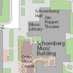 Map image showing location of Music Library