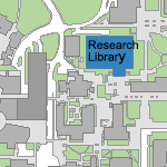 Map image showing location of Charles E. Young Research Library