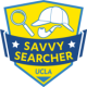 Savvy Searcher logo with hat, pipe, and magnifying glass