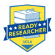 Ready Researcher logo with books and glasses