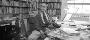 Journalist Carey McWilliams in his office, 1978
