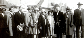 Hotel Somerville owners John Somerville and Vada Watson Somerville, along with investors, at the hotel groundbreaking, 1928