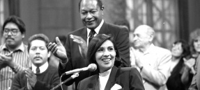 Mayor Tom Bradley and Councilwoman-elect Gloria Molina, Los Angeles, Calif., 1987