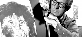 Author Ray Bradbury at UCLA project to illustrate characters from his science fiction dramas, 1964