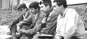 Four Brown Berets leaders, Fred Lopez, David Sanchez , Carlos Montes and Ralph Ramirez in Los Angeles, Calif., 1968