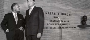 Ralph J. Bunche and Charles E. Young in front of Bunche Hall, UCLA - 1969