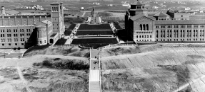 Aerial view of UCLA campus from Goodyear Blimp, 1930