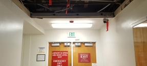 emergency exit door with open ceiling