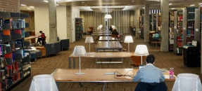 Students studying in YRL socially distanced spaces