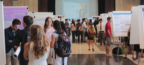 students at research poster event