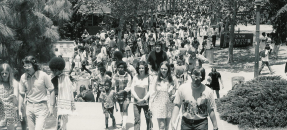 Students on Bruin Walk, ca. 1970s