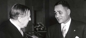 Gunnar Jahn, Chairman of the Nobel Committee, and Ralph J. Bunche at the 1950 Nobel Prize presentation ceremony – December 10, 1950