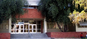 Exterior view of entrance to Boelter Hall