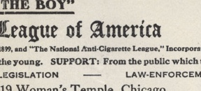 Original century-old document from the Anti-Cigarette League of America.