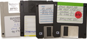 Floppy disks from the Collection of Research Materials for the HBO Television Series, From the Earth to the Moon