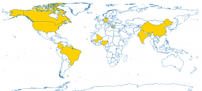 A world map highlighting participants' locations during the 2020 Mapathon, including the following countries: American Samoa, Brazil, Canada, China, Colombia, Germany, Greece, India, Mali, Nigeria, Taiwan, United States.