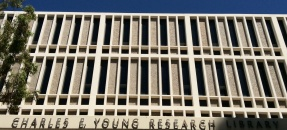Photo of the front of the Charles E. Young Research Library.
