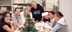 Photograph of Special Collections students at Holiday Party
