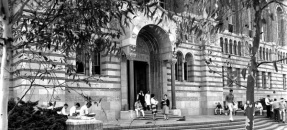 Powell Library with students at entrance, c.1960