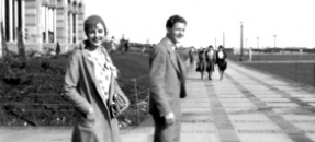 Registration - Mary Ellen Hohiesel and another student on the Esplanade, 1930