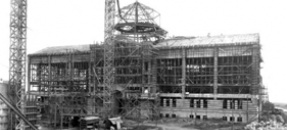Powell Library under construction, 1928