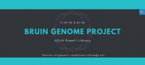 Bruin genome project promotional poster. UCLA Powell library. Stories of genetic conditions through art.