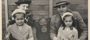 Ruth and Ralph Bunche pictured with their two daughters