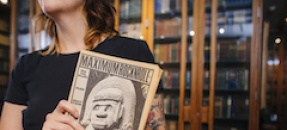 Librarian with primary source material
