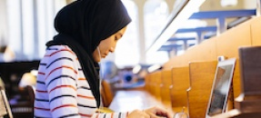 Girl studying in the library