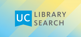 UC Library Search chop mark text on light blue and yellow striped background