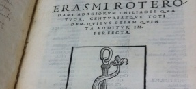 Desiderius Erasmus. Adagia. Venice: Aldine Press, 1520. Title page, bearing the Aldine anchor-and-dolphin device.