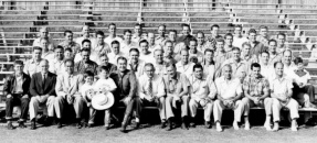 Alumi Association Annual Picnic group photo with coaches, 1952