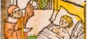 detail from a medieval manuscript showing a doctor treating a patient in bed