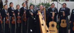 Costumed musicians with instruments
