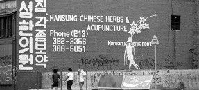 Advertisement for herbs and acupuncture written in English and Korean on side of building in Los Angeles, Calif., 1982
