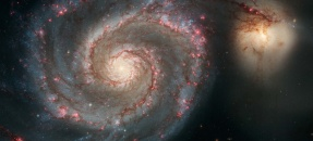 Spiral galaxy NGC 5194, commonly known as the Whirlpool Galaxy imaged by Hubble