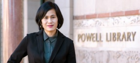 May Hong HaDuong posed in front of Powell Library