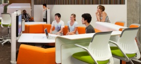 Students working together in a Research Commons Collaboration Pod