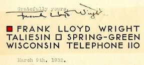 Frank Lloyd Wright Signature File from stationery