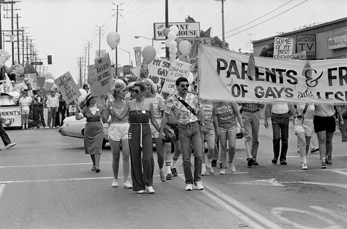 Gay Pride Parade, West Hollywood, 1983. Los Angeles Times Photographic Archive, Negative 298763. UCLA Library Special Collections.