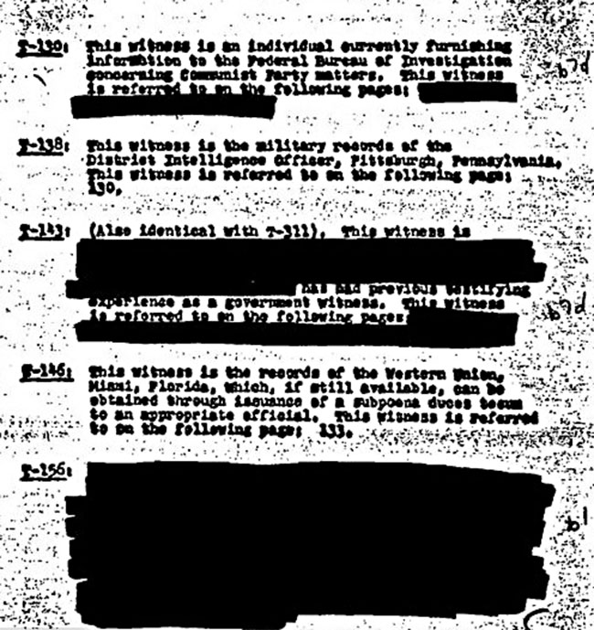 Zoia Horn's FBI file concerning witnesses in the Harrisburg Seven trial